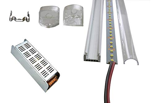 LED remsor 1 m remsa 72 SMD LED varmvit kallvit underbyggnadsbelysning aluminiumprofil aluminiumlist skena 1 m 12 V DC 25 W nätdel adapter Trafo LED Stripe Set LED + ram + nätdel kallvit 3 x