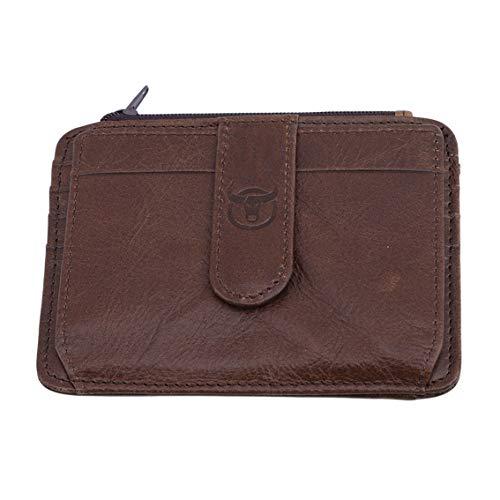 Yesiidorn - Mini bolso de piel para hombre, organizador de tarjetas de crédito Length and Width :12 * 9cm canela