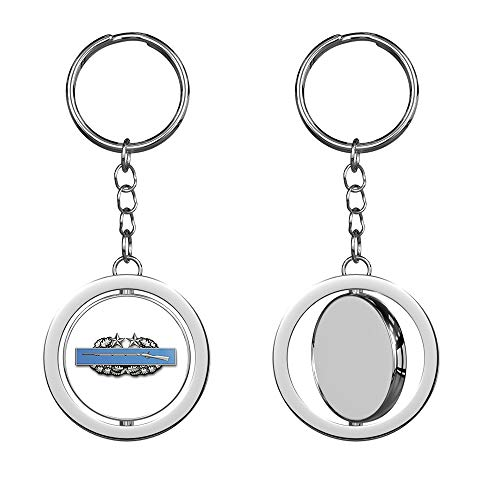 HJ Media US Army Combat Infantry Badge 3rd Award Metal Round Spinning Metal Key Chain Keychain Ring