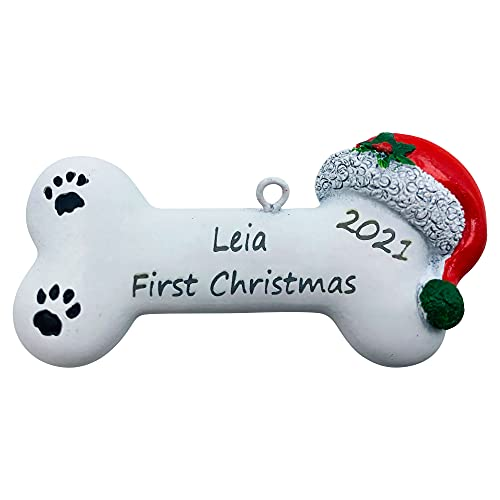 santaornaments Personalized First Christmas Dog Bone Ornament