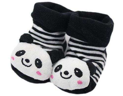 BONAMART 3D Anti Rutsch Babysöckchen Stricken Socken Baby Laufsocken Babysocken kindersocken Junge Mädchen Karikatur Schuhe, Panda Schwarz-weiß Gestreiften, L: 12 (elastisch) cm