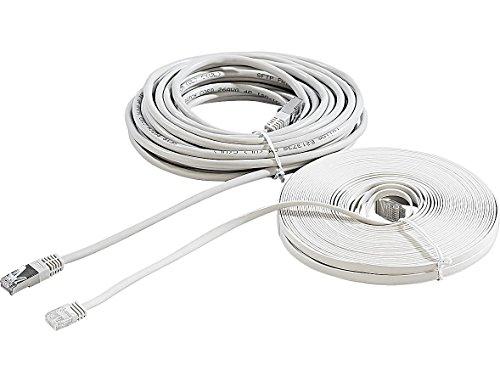 Fibrionic Network Solutions LAN Kabel dünn: Netzwerk-Kabel Cat5e flach, weiß, 20m (Lankabel flach)