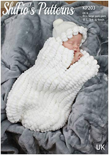 Knitting Pattern for Pom-Pom Yarn, Baby Cocoon and Matching Hat Knitting Pattern in Pom Pom Yarn and...