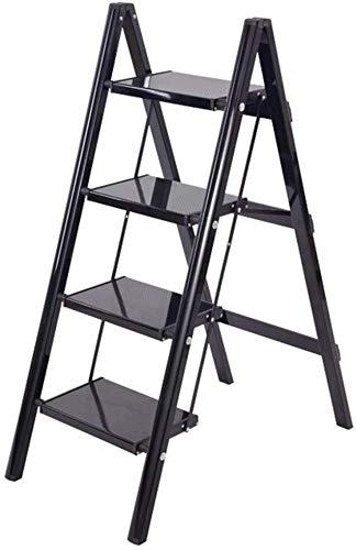 JXHOME Escalera Plegable Plegable Taburete, Negro de Aluminio Ligero Paso de heces for Elder Kid, Cocina Balcón Cubierta