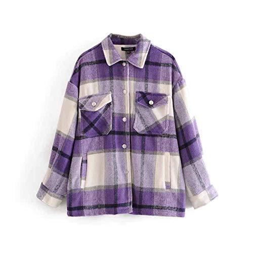 QMGLBG Otoño Invierno Camisa a Cuadros Chaqueta Abrigo Suelto de Gran tamaño Solapa Bolsillo Abrigo Mujer Vintage botón Suave 8 Colores Chaqueta Cortavientos