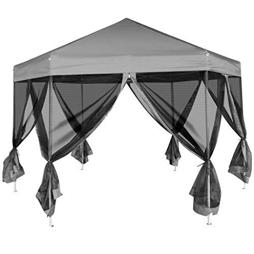 Gecheer Outdoor Party Gazebos, Folding Pop Up Tent, Hexagonal Pop-Up Marquee with 6 Sidewalls Grey 3.6 x 3.1 m
