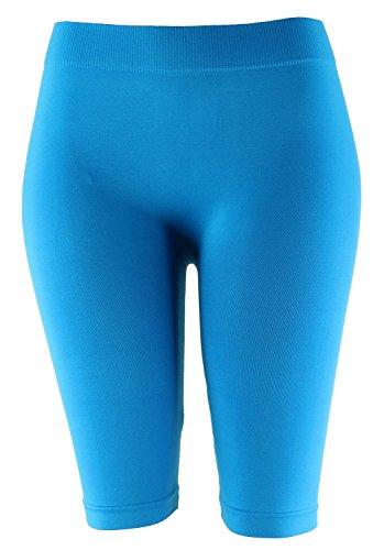 Basic Solid Biker Knee Length Shorts Spandex Yoga Leggings (One Size, Turquoise)