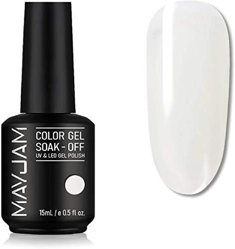 MAYJAM Gel Esmalte de Uñas Barniz Soak Off UV LED Esmalte de Uñas en Gel Nail Art Manicure Salon DIY en Casa 15ML- Blanco Clásico
