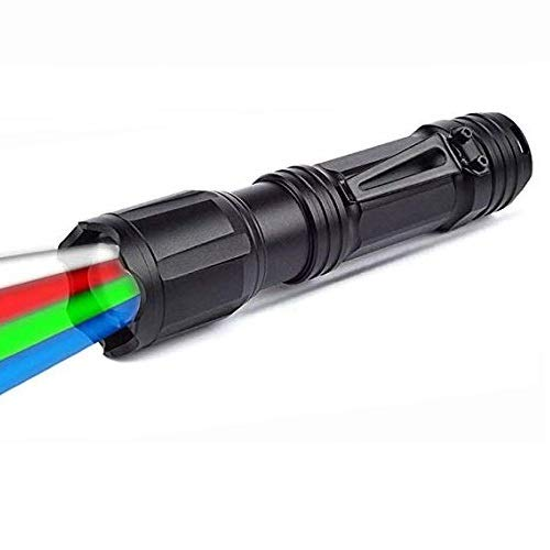 Linterna LED con luz roja/verde/blanca/azul, BESTSUN 4 colores en 1 colores múltiples Linterna al aire libre Linternas de señalización vial para visión nocturna, astronomía, senderismo, pesca 🔥