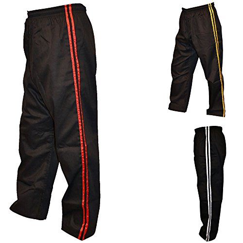 Karate Trouser, Black with Red Stripes 200