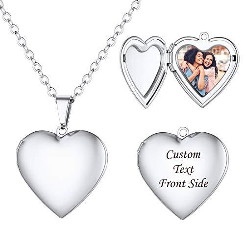 U7 Locket corazón con fotografía Personalizada Collar camafeo para Fotos Colgante romántico para Parejas Cadena Fina de Acero Inoxidable joyería romántica para día San valentín