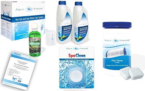 AquaFinesse Whirlpool Wasserpflegeset mit Chlortabletten + Whirlpoolduft inSparation, ausführliche Wasserpflegeanleitung GRATIS, Filterreiniger Tabs, Spa Clean Puck