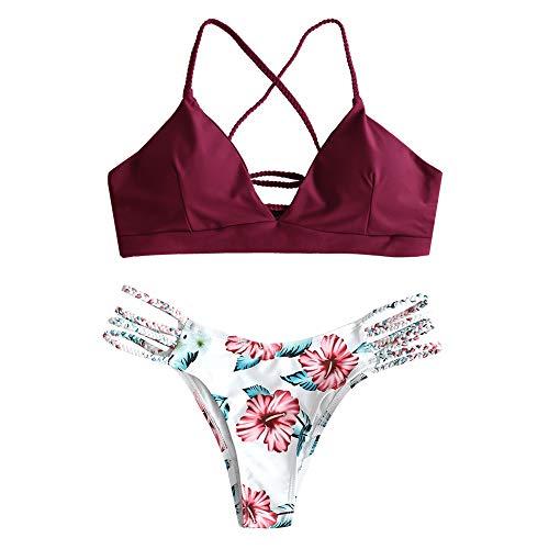 ZAFUL zweiteilig Bikini-Set mit verstellbarem BH Push-Up Rücken, Triangle Bustle Badehose mit Blummenmuster (Weinrot, L)