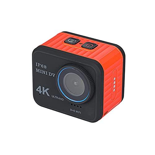 XJPB Cámara de acción Cámara a Prueba de Agua subacuática 4K WiFi 170 ° de Gran Angular con Accesorios remotos Kit de Montaje para PC Webcam Youtube/Vlogging Video,Naranja