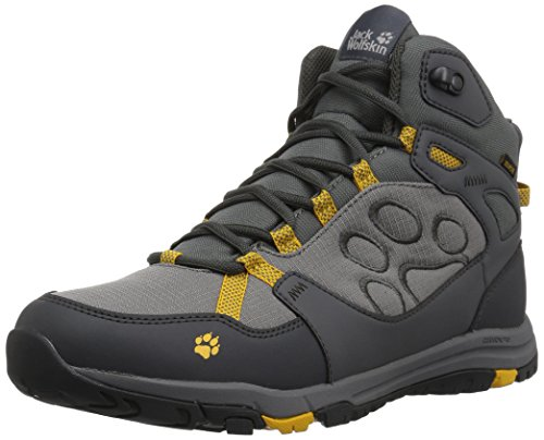Jack Wolfskin ACTIVATE TEXAPORE MID M Wasserdicht, Herren Trekking- & Wanderstiefel, Grau (Burly Yellow Xt), 44 EU(9.5 UK)