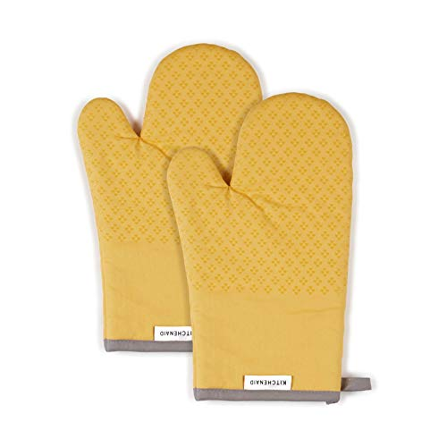KitchenAid Asteroid Cotton Oven Mitts with Silicone Grip, Set of 2, Buttercup