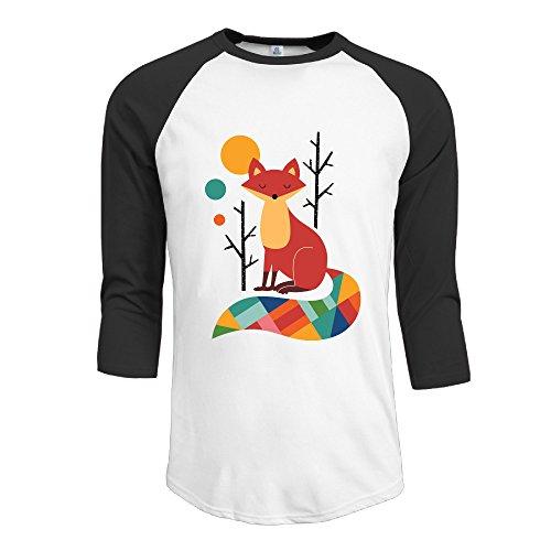 Rainbow Fox geometría colorido para hombre Fashion camiseta 3/4Manga béisbol camiseta