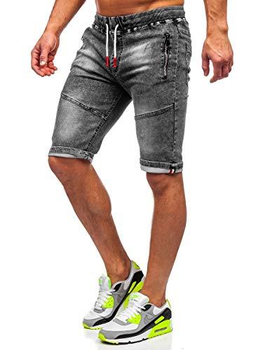 BOLF Hombre Pantalón Corto Pantalones Vaqueros Denim Shorts Bermudas Pantalón de Algodón Estilo Diario Red Fireball HY651 Negro XXL [7G7]