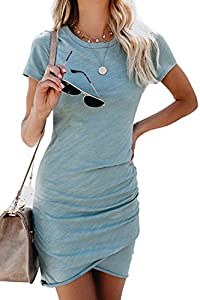 Walant Womens Short Sleeve Sheath Dress Solid Color Irregular Summer Bodycon Mini Dress Greyblue by