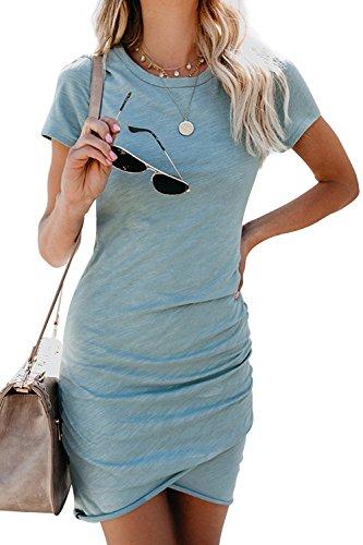 Walant Womens Solid Color Bodycon Pencil Dress Short Sleeve Summer Club Dress Greyblue