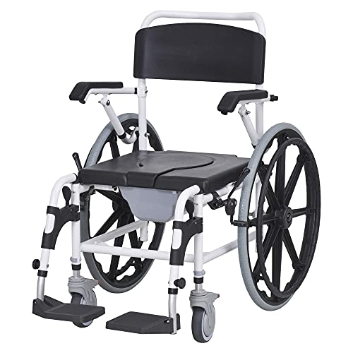 "HomCom Rolling Shower Wheelchair Bath Toilet Commode Bariatric with 24"" Wheels, Detachable Bucket & Shower-Proof Design, Black"