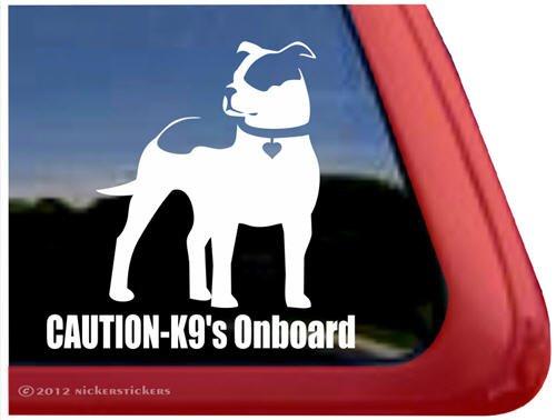 Caution - K9's Onboard ~ Pit Bull Vinyl Window Auto Decal Sticker