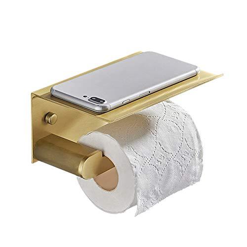 Affogato - Portarrollos de papel higiénico, montado en la pared, sin taladrar con estante de almacenamiento, accesorios de baño,simplemente estilo impermeable a prueba de moho,17×11,8×8cm (oro)