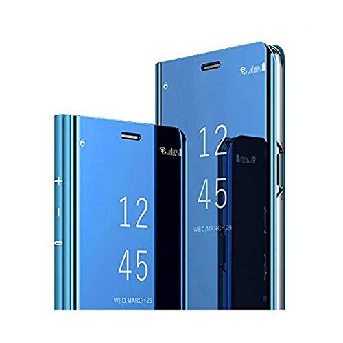 Spiegel Mirror Samsung Galaxy A40 hülle Kompatibel mit Samsung Galaxy A40 case Hülle Handyhülle Spiegeln Standfunktion Mirror Flip Case Cover Schutzhülle,Für Samsung Galaxy A40. (Blau)