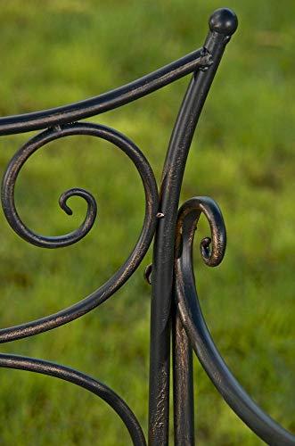CLP Gartenbank TARA, Landhaus-Stil, Eisen lackiert, Design antik,113 x 47 cm, bis zu 5 Farben wählbar Bronze - 8