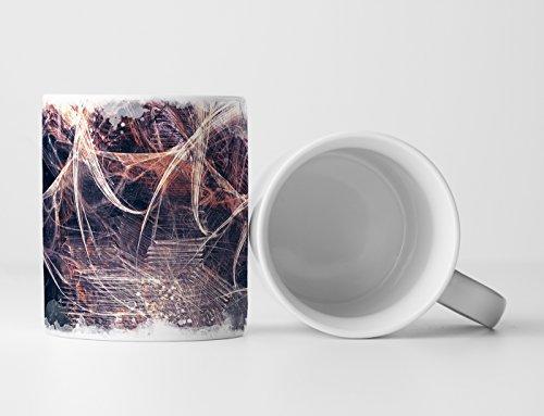 Eau Zone Design abstract mok geschenk licht spatelpatroon op staalblauwe abstractie