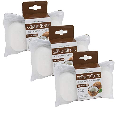 Spongeables Skinutrients Moisturizing Body Wash in a Sponge, Colada, Coconut, 3 Count