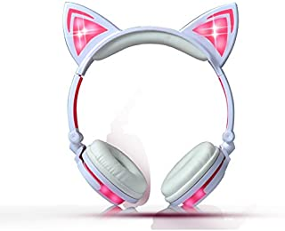 Kids Headphones Wired Over-Ear Foldable LED Gaming Flashing Lights with USB Charger Earphone Headset for iPhone 6s,6s Plus,Android,iPad and Computer (White&Pink,New Version)