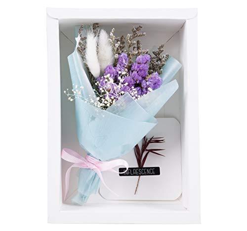 Blanc Mini Bouquet Creativo con Scatola e Biglietto di Auguri Bouquet di Fiori secchi Regali di Compleanno Decorazione per Feste Regalo di Natale (005-Combo5)