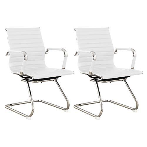 SVITA Elegance 2X Besucherstuhl Kunstleder Freischwinger-Stuhl mit Armlehne Konferenzstuhl ohne Rollen Armlehnstuhl Office-Stuhl Weiß