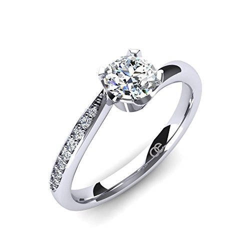 Moncoeur Damen-Ring Immortelle aus 925 Sterlingsilber mit Swarovski-Zirkonia Steine - Perfekter Verlobungsring für Damen - Geschenk für die Freundin - Comfort-Fit + Etui
