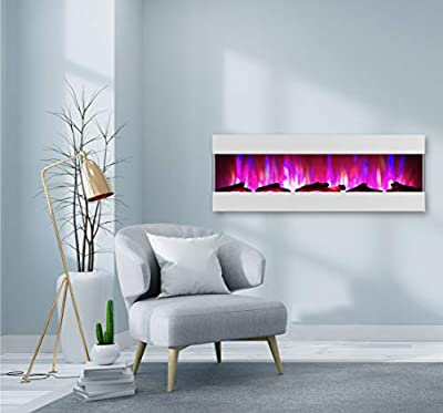 CAMBRIDGE 60 Logs and LED Color Changing Display, White, CAM60RECWMEF-2WHT Recessed Wall Mounted Electric Fireplace