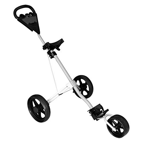 Find Bargain XUROM Golf Cart 3 Wheel Push Pull Cart Golf Trolley Golf Push Cart Golf Cart Swivel Fol...