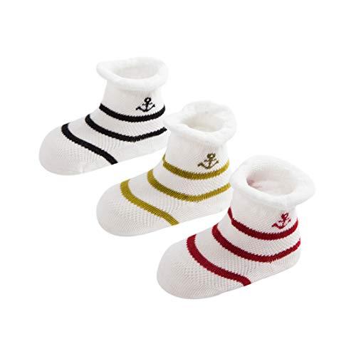 DEBAIJIA 3 Pares Calcetines de Algodón para Infantes Niñito Bebés Calcetines de Malla Respirable Encantador Vistoso Raya Patrón 1-3 años para Recién Nacido Niño Niña - Negro Rojo Verde
