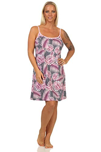 NORMANN-Wäschefabrik Ärmelloses Damen Spaghetti Nachthemd in floralem Print, auch in Übergrössen - 112 90 225, Farbe:rosa, Größe:40-42