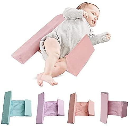 ベビー枕 寝返り防止 寝返り防止クッション 、うつ伏せ防止、赤ちゃん クッション 長さ調整可能 嘔吐防止ミルク 乾燥してべたつかない クッション 向き癖 洗える ママも安心 新生児 3歳ごろまで 窒息防止 (ピンク)