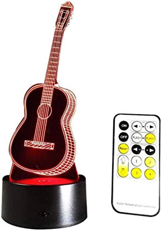 Neuheit Lampe, Fernbedienung 3D-Gitarre Muster LED Nachtlicht 7 Farbverlufe Touch-Schalter Akku USB-Lade dekoratives Licht Geschenk für Kinder