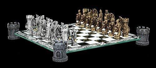 Figuren Shop GmbH Drachen und Ritter Schachspiel auf Burgturm - Schachfiguren Fantasy Schach