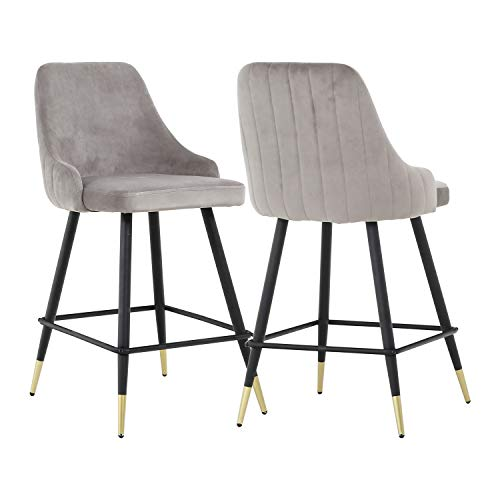 Barstools Set of 2 - Upholstered 25.5 Inch Counter Height Stools with Back and Footrest, Classic Velvet Bar Stools for Kitchen Counter Island (Grey, 2 Barstools)