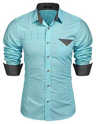 JINIDU Men's Dot Print Long Sleeve Button Down Shirt Contrast Color Casual Slim Fit Dress Shirts