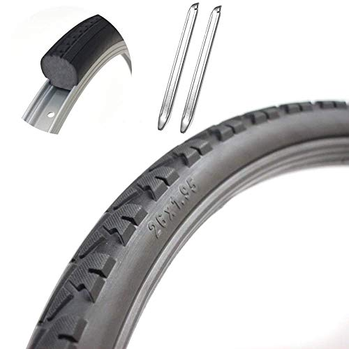 YLLN 26' X 1.95 Bicycle Solid Tire and 2 Tire Lever,Mountain Bike Tires Spare Part Accessories,26 Inch Road Bike Tyres