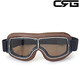 CRG Sports Vintage Aviator Pilot Style Motorcycle Cruiser Scooter Goggle T13 T13BTN Smoke Lens Brown Padding