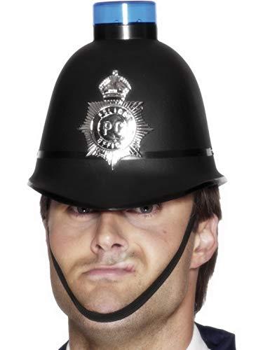 Confettery - Kostüm Accessoires Zubehör Englischer Bobby Polizeihelm Hut mit Abzeichen und blinkendem Blaulicht, perfekt für Karneval, Fasching und Fastnacht, Schwarz