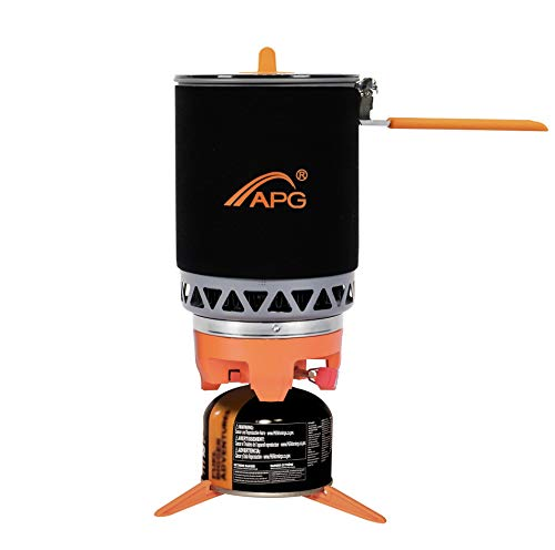 APG Mega Camping Stove Cooking System with Canister Stabilizer | Propane Burner Outdoor Hiking Backpacking Camp Stove | Portable Gas Stove Burner | Fast Boil Fuel Efficient Flash Cooking, 1.6-Liter