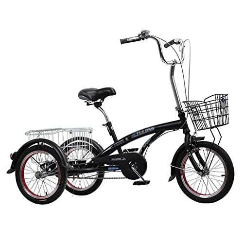 16 Inch Adult Tricycle With Shopping Basket Three Wheel Bike For Adults Seniors Women Men Beginner Trike Tricycle(Color:Black-A)