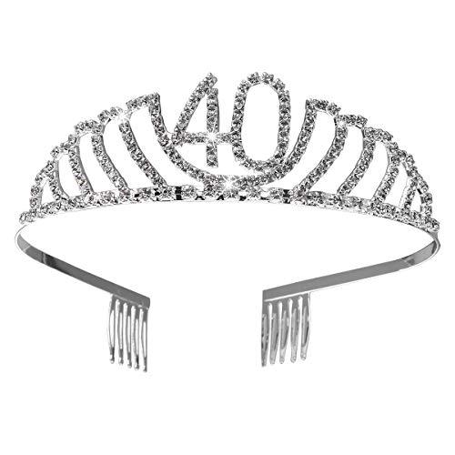 cappello 80 anni Frcolor Corona per Compleanno 40 Anni Cerchietto Diadema Principessa Donna Tiara Strass Cristallo con Pettine (Argento)